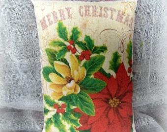 Christmas Pillow Tuck | Poinsettia Pillow | Merry Christmas | Holiday Pillow | Holiday decor | | Christmas decoration | Christmas Pillow