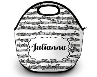 Music Personalized Lunch Tote - Music Note Lunch Bag, Neoprene Lunch Tote Bag - Kids Personalized Gift