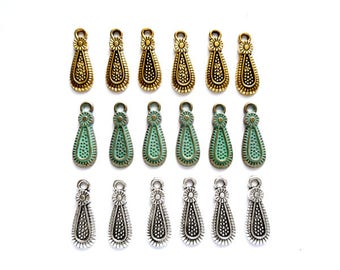 6 Antique Gold, Patina Plated Or Antique Silver Drop Charms - 27-21-5