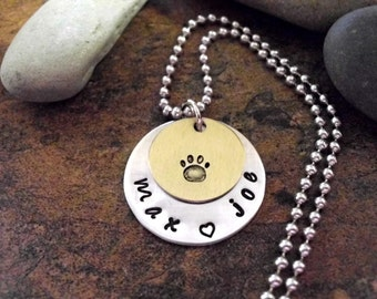 Pet Necklace, Paw Print Jewelry, Personalized Necklace, Animal Jewelry, Hand Stamped Necklace