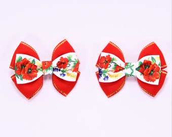 Set of 2 Small Bows Toddler Hair Clips Ukrainian Hair Bows Floral Hair Bows Red Flower Bows Toddler Hair Bows Pigtail Hair Bows Red Baby Bow