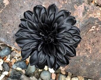 Black Dahlia Silk Flower Hair Clip