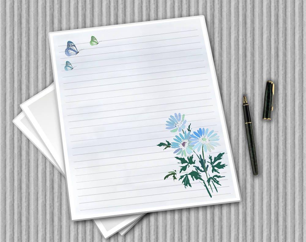 Floral Writing Paper Set Water Colour Flower Paper Digital