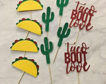 Taco Cupcake Toppers Cactus Cupcake toppers Taco bout love Cupcake toppers Taco Tuesday Fiesta Decorations Cinco de Mayo Decorations Fiesta