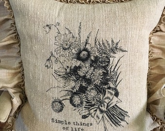 "Vintage European Grain Sack Euro Pillow Cover with ""Simple things of life"" wild flowers image"