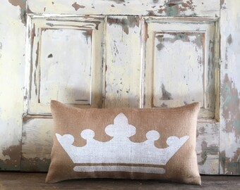 Pillow Cover | Crown Pillow | Crown Lumbar | Burlap Pillow | ZTA pillow | ZTA | Queen, Princess pillow | Gift for Her | Gift for Mom