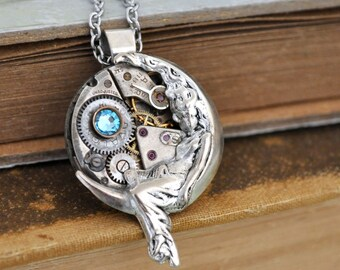 steampunk necklace - Love You To The Moon And Back -  lunar goddess steampunk charm with aquarmarine blue  Swarovski jewel