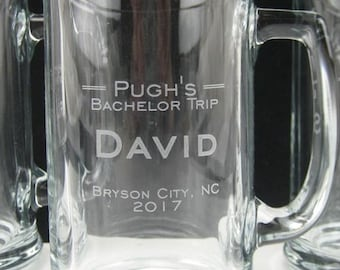 Personalized Beer Mug - Bachelor Party Engraved Beer Mug -  Engraved Beer Glass