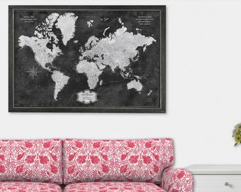 Push Pin Map Framed Travel Map of the World Map Detailed Push Pin Travel Map with Frame World Map for Traveling Gifts for Boyfriend Art Gift