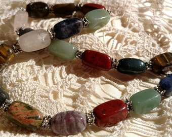 """Lovely 20"""" Natural Stone Agate Necklace Tigers Eye Quartz etc."""