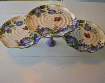 Hydrangea Plate Stand set