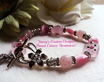 Gorgeous BREAST CANCER AWARENESS Bracelet - custom made jewelry