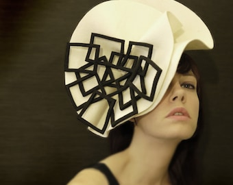 Cream and Black Felt Hat - Fractal Series - Made to Order