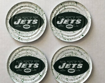 FOOTBALL COASTERS KF223 Set of 4 (New York Jets Fabric)