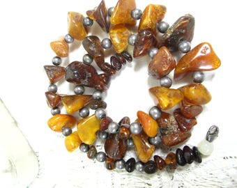 """Vintage Raw Butterscotch Honey Amber Nugget Chunk Sterling Silver Bead Necklace 20"""""""