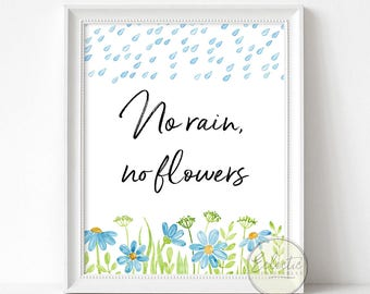 Printable Wall Art, Printable Wall Decor, Quote Print, Typography Print, No Rain No Flowers, Watercolour Art, Blue Printable Art