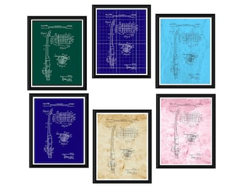 Gibson Guitar Print  Patent - Les Paul Electric Guitar Blueprints Poster  -  Art Guitar Patent Print Made in Stock Card or Laminated
