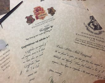 Wizard School Acceptance Letter Set - with Wand and House letter