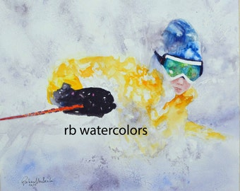 Ski print Watercolor 11x13 skier snow painting alpine ski painting snowboard painting gifts for him gifts for man