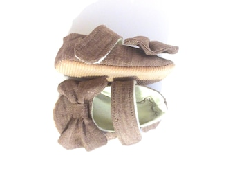 Dressy Baby Mary Janes in Khaki Brown