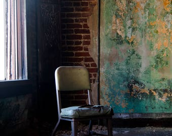 Misplaced Chair, Fine Art Urban Decay Photograph For Wall Decor