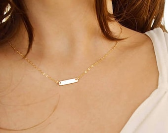 Personal 14K Gold Filled Mini Bar Necklace, Cute short necklace, Simple look, everyday wear, Stylish, modern, available in Sterling Silver