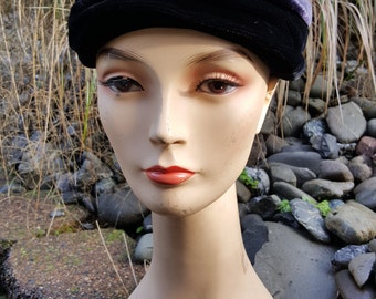 Velvet Black and Purple Union Made Cloche