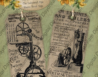 Tag Set Instant Download Digital Printable Collage Sheet Gift or Scrapbook Journaling Tag Set - The Industrial Age, Steampunk Machinery