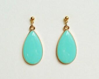 Teardrop Earrings, Turquoise Green Teardrop Earrings, Pastel Green, Pastel Blue Earrings, Hypoallergenic, Bridesmaid, Resin Jewelry
