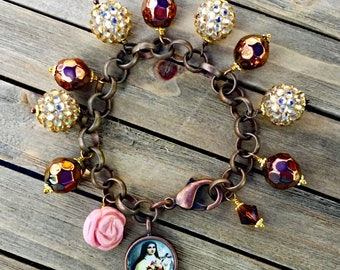 Saint Therese Flowers and Crystal Charm Bracelet
