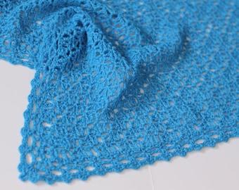 Wedding shawl/bridal shawl/winter wedding/wedding wrap crochet triangle cashmere wrap (sinai perfect blue)