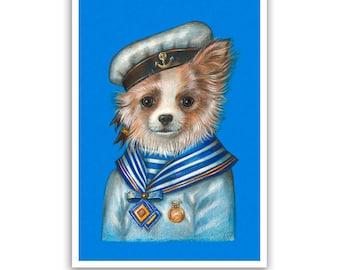 Chihuahua Art Print - the Sailor - Sea Art, Dog Gifts, Pet Posters - Dog Portraits by Maria Pishvanova