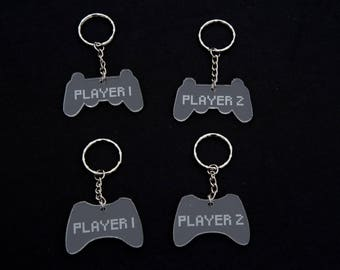 Player 1 and Player 2 Acrylic Keyrings (Set of 2) Xbox Play Station Games Play