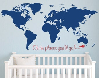 World Map Wall Decal - Nursery Wall Decal - Baby Room Decor - Nursery Wall Decals Vinyl & World map wall decal   Etsy