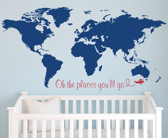 World map wall decal nursery wall decal baby room decor gumiabroncs Choice Image