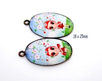 Pair set pattern bronze ladybug, cherry blossom
