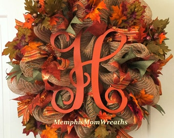 Fall Wreath, Fall Monogram Wreath, Monogram Wreath, Fall Initial Wreath, Thanksgiving Wreath, Fall Decor, Door Wreath, Fall Door Decor