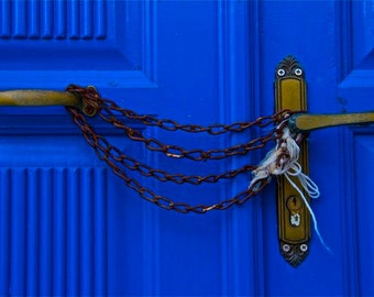 Door and lock blue cobalt blue rust chained door photograph abstract Greece Greek travel wall decor decorative collectables doors and locks