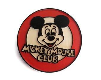 Vintage Mickey Mouse Club Pin Disney Channel TV Show Memorabilia Molded Plastic 2in Button