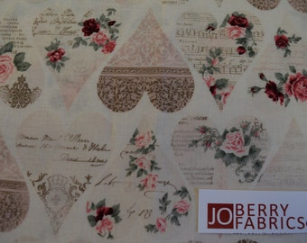 """Roses and Hearts """"Romance"""" by Stof Fabrics of Denmark, Quilt or Craft Fabric, Fabric by the Yard"""