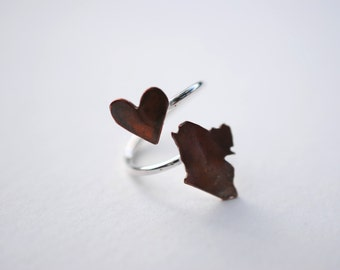 Maine Twist Place Ring (Sterling Silver & Copper Place State Love Map Ring)