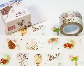 Masking Washi Tape-watercolour plants music/Filoxafing DIY scrapbooking deco tape