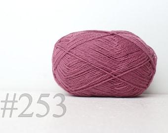 pure WOOL yarn 100% knitting yarn - peony pink #253