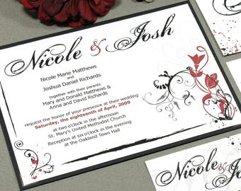 Flower Wedding Invitation Suite, Black and Red Wedding Invite Set, Modern Wedding Invites, Calligraphy Wedding Invitations Pocket Invitation