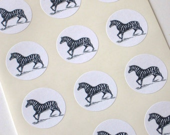 Zebra Stickers One Inch Round Seals