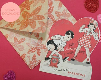 Vintage Printable Valentines Day Card with Custom Envelope Template, Funny Card, Antique Card