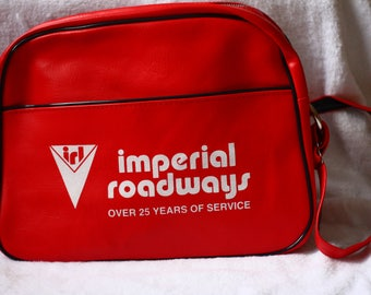 vintage carry on // vintage luggage // vintage promotional bag // bright red vinyl