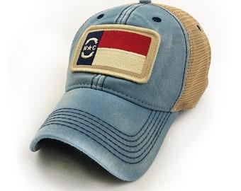 North Carolina Flag Patch Trucker Hat, Americana Blue