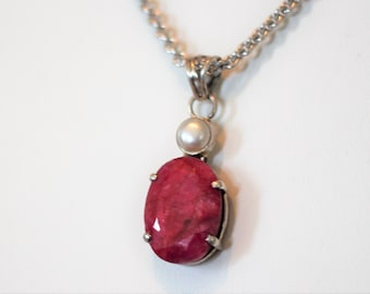 Natural Ruby and Pearl Pendant