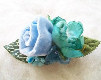 Velvet Rose Hair Clip Light Blue Velvet Flowers Leaves Buds Hair Accessory Fantasy Clip Whimsical Fairytale Velvet Rose Hair Clip Handmade